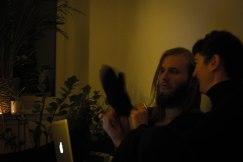 Sam perplexed by wollen mitten